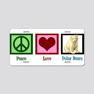 Peace Love Polar Bears Aluminum License Plate