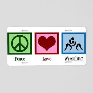 Peace Love Wrestling Aluminum License Plate