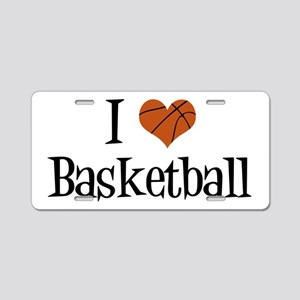 I Heart Basketball Aluminum License Plate