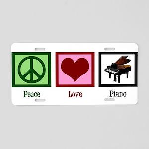 Peace Love Piano Aluminum License Plate
