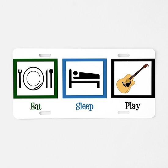 Eat Sleep Guitar Aluminum License Plate