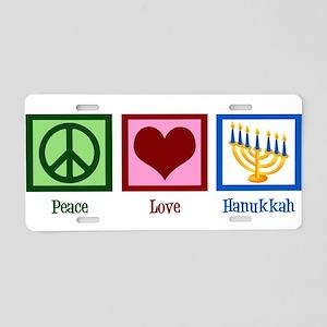 Peace Love Hanukkah Aluminum License Plate