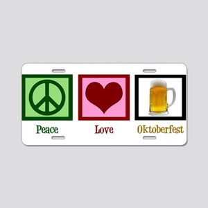 Peace Love Oktoberfest Aluminum License Plate