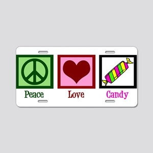 Peace Love Candy Aluminum License Plate