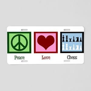 Peace Love Chess Aluminum License Plate