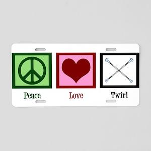 Peace Love Twirl Aluminum License Plate