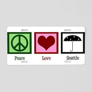 Peace Love Seattle Aluminum License Plate