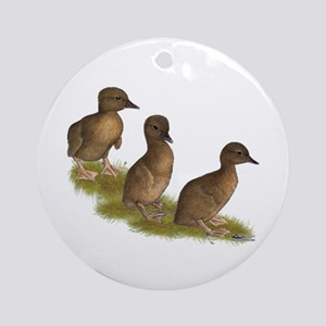 Chocolate Runner Ducklings Ornament (Round)