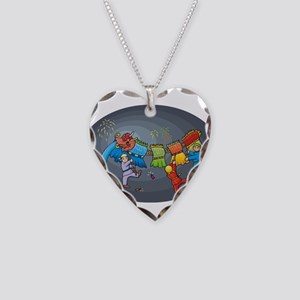 Dragon with Dancers Necklace Heart Charm