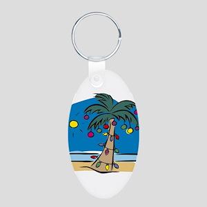 Holiday Palm Aluminum Oval Keychain