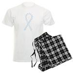 Light blue paw ribbon Men's Light Pajamas