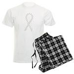 Gray paw ribbon Men's Light Pajamas