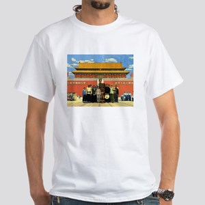 Tiki in Tiananmen White T-Shirt