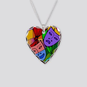 Abstract Masks Necklace Heart Charm