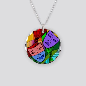 Abstract Masks Necklace Circle Charm