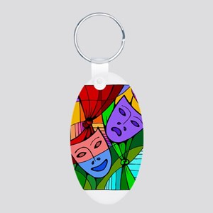 Abstract Masks Aluminum Oval Keychain