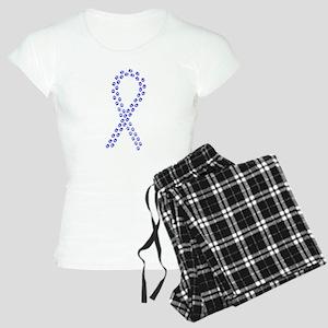 Blue paw ribbon Women's Light Pajamas