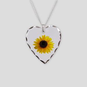 Golden sunflower Necklace Heart Charm