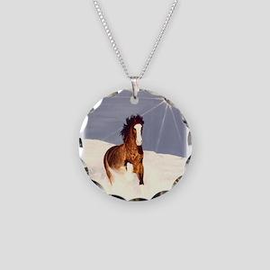 Starlight Snow Run Necklace Circle Charm