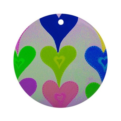 Touching Hearts Yellow Ornament (Round)