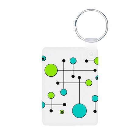 Lime & Teal Dot Dash Aluminum Photo Keychain
