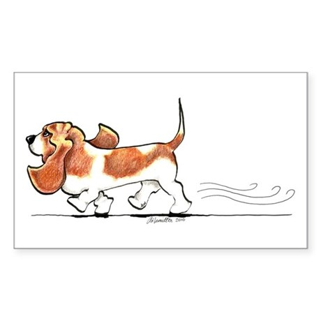Basset Hound Places Sticker (Rectangle)