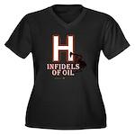 H Women's Plus Size V-Neck Dark T-Shirt