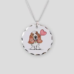 Basset Heart Balloon Necklace Circle Charm