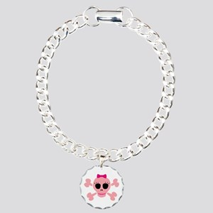 Funny Pink Skull Charm Bracelet, One Charm