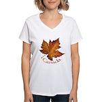 Canada Maple Leaf Women's V-Neck T-Shirt