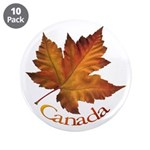"Canada Maple Leaf 3.5"" Button (10 pack)"