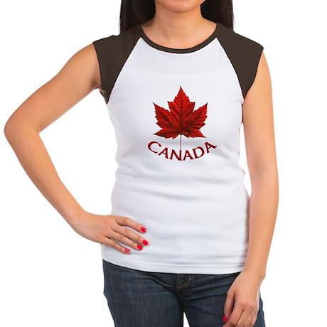 Canada Maple Leaf Souv Junior's Cap Sleeve T-Shirt