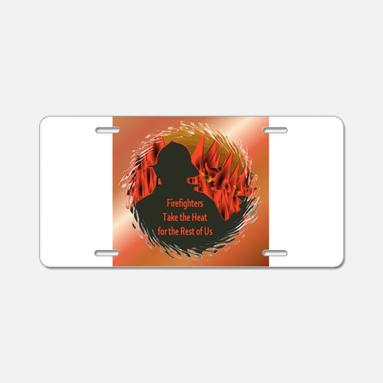 Firefighters Aluminum License Plate