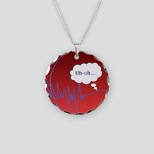 Uh Oh FlatlineTri-v Necklace Circle Charm