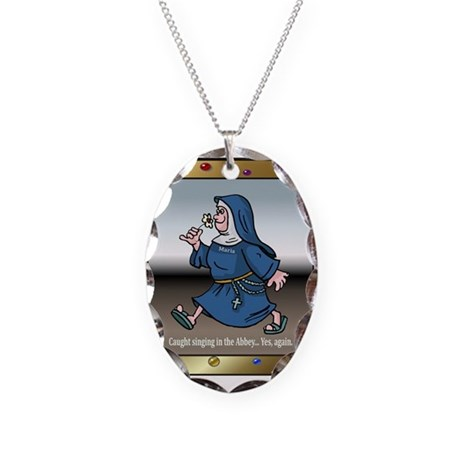 Singing Nun Necklace Oval Charm