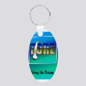 Fore! Aluminum Oval Keychain