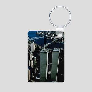 Twin Towers Aluminum Photo Keychain