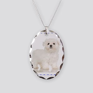 Maltese Puppy Necklace Oval Charm