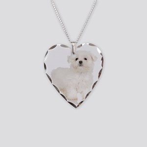 Maltese Puppy Necklace Heart Charm