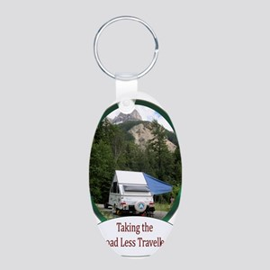 Camping Aluminum Oval Keychain