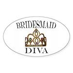 Bridesmaid DIVA Gift Oval Sticker