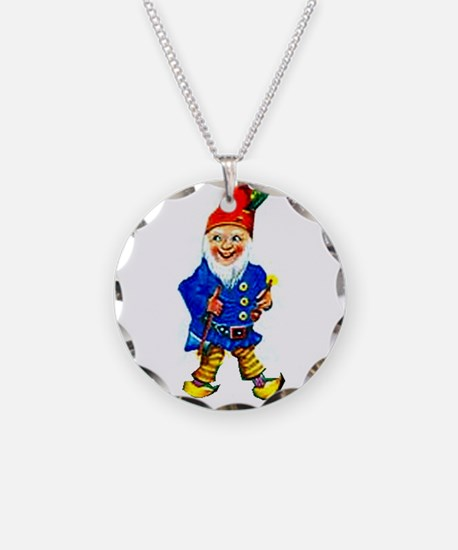 Vintage GNOME Necklace Circle Charm
