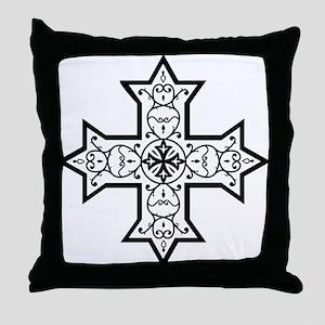 Coptic Cross BW Throw Pillow