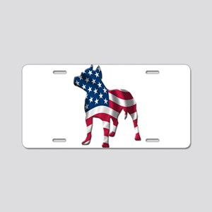 Patriotic Pit Bull Design Aluminum License Plate