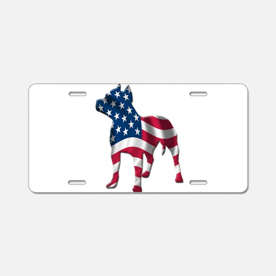 Patriotic Pit Bull Design Aluminum License Plate