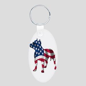Patriotic Pit Bull Design Aluminum Oval Keychain