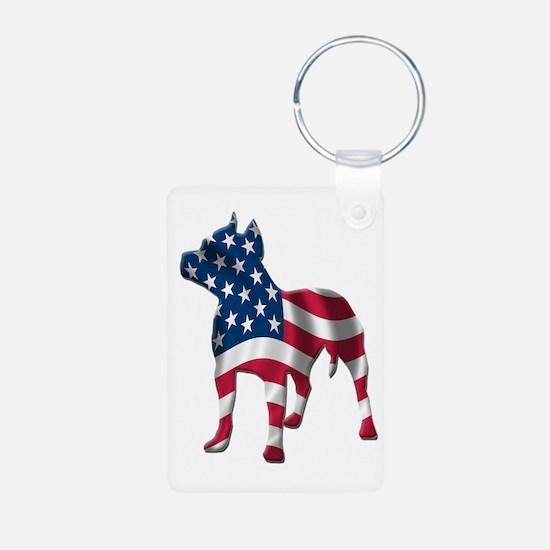 Patriotic Pit Bull Design Keychains