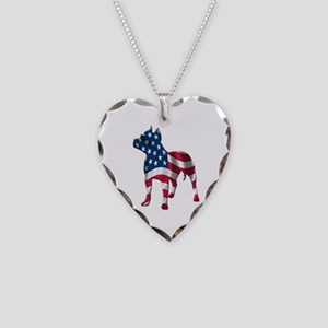 Patriotic Pit Bull Design Necklace Heart Charm