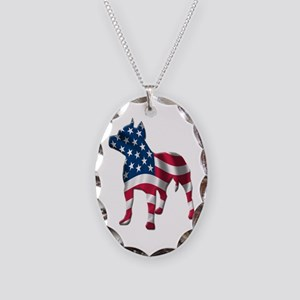 Patriotic Pit Bull Design Necklace Oval Charm