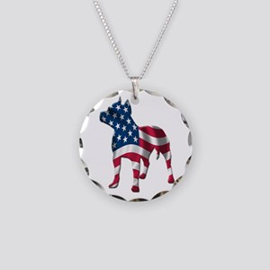 Patriotic Pit Bull Design Necklace Circle Charm
